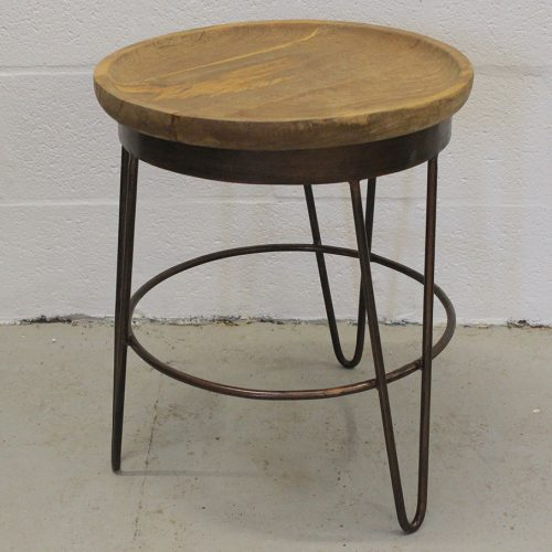 Deep round wooden top with copper wire base