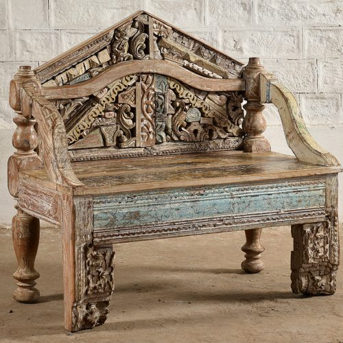 Wooden bench made with original wooden carvings