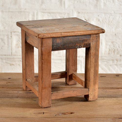 Small reclaimed wooden stool/ side table