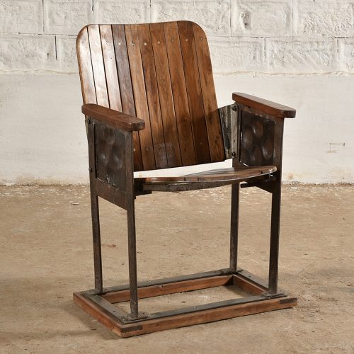 Original wood and iron cinema seat