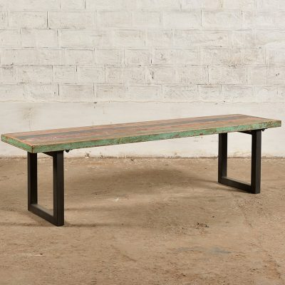 Colourful reclaimed wooden bench with iron base