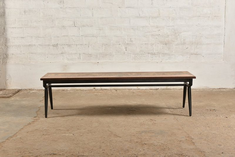 Reclaimed wooden bench with tubular iron frame