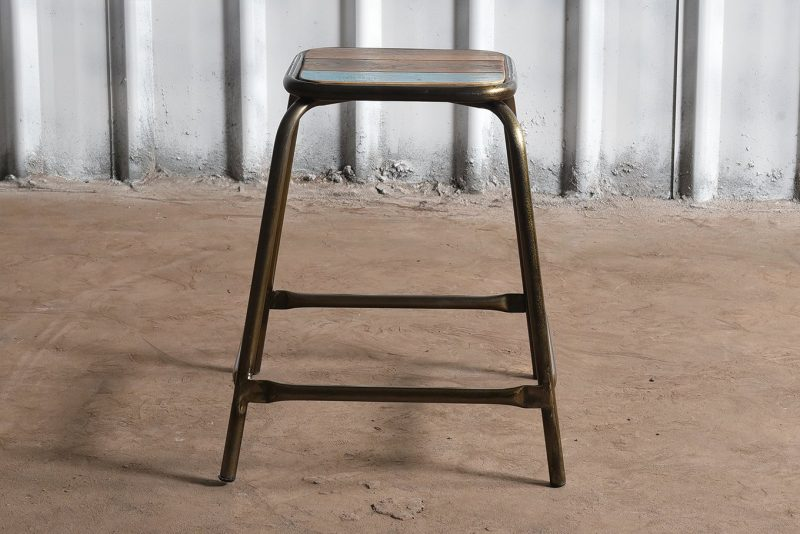 Industrial reclaimed wood and iron stool - low