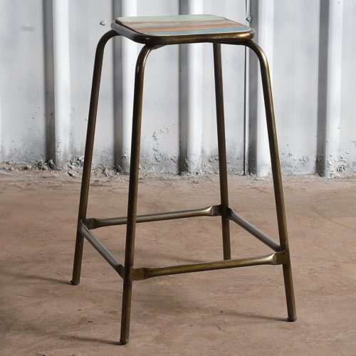 Industrial reclaimed wood and iron stool - high