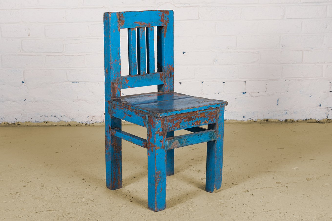Original blue wooden children's chair