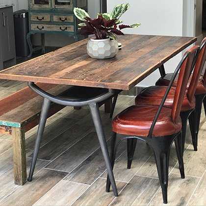 industrial reclaimed dining table chairs