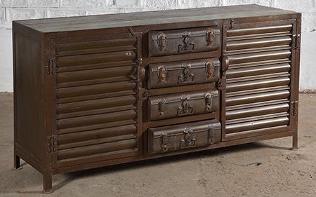 industrial sideboard leather metal wood