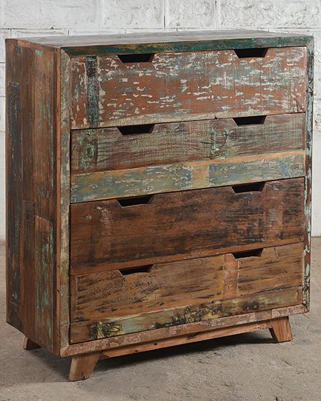 relaimed wooden drawer chest