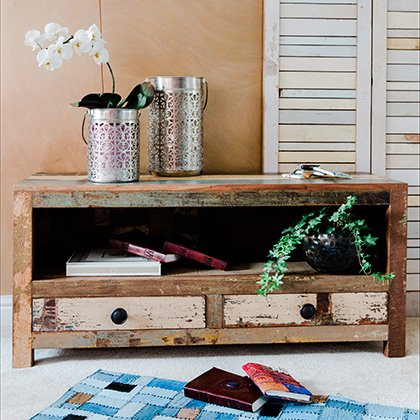 reclaimed wood media console sideboard